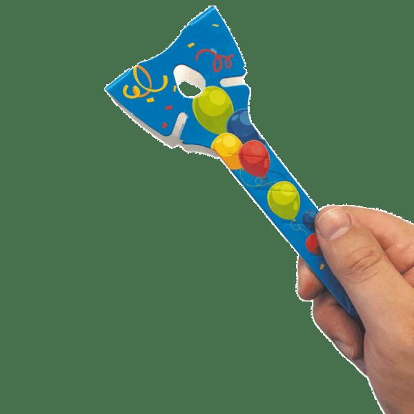 Öko Luftballon-Halter blau aus Pappe ohne Plastik mit Hand