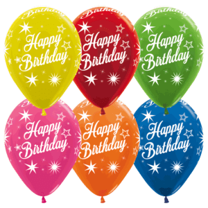 Happy Birthday Luftballons Metallic Farben 30 cm