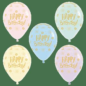Happy Birthday Luftballons Pastell Farben 30 cm