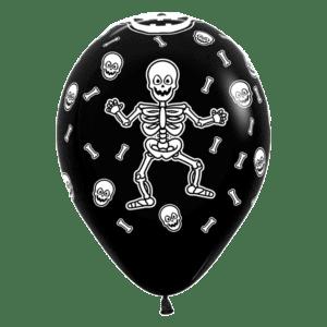 Luftballon mit Skelett Totenkopf und Knochen