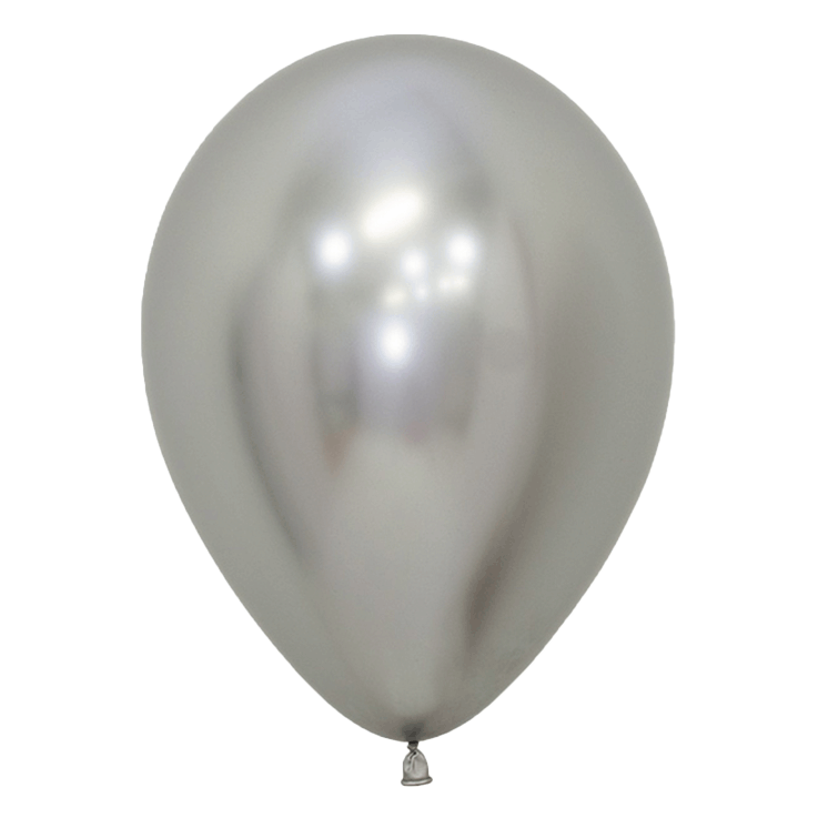 Bio Luftballon 30cm chromglanz silber