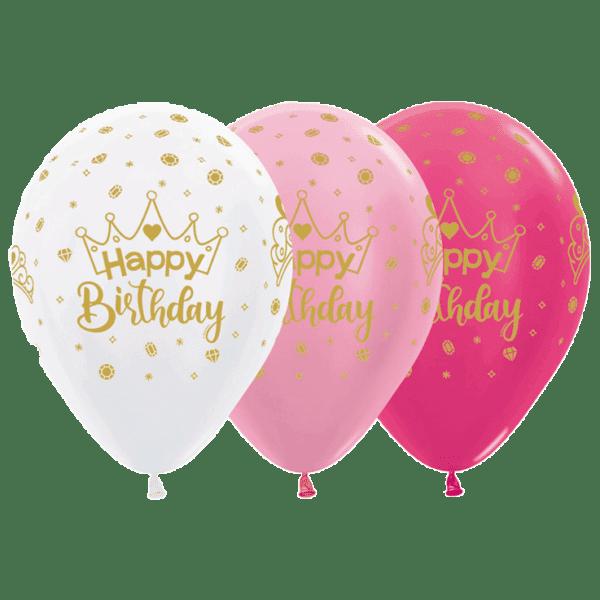 Bio Luftballon Happy Birthday Krone gold