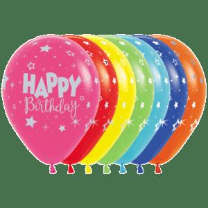 Bio Luftballon Happy Birthday silber Schrift