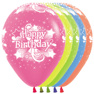 Bio Luftballon Happy Birthday Sterne, 30cm, Neon Mischung