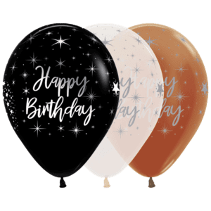 Bio Luftballon Happy Birthday mit Sternen silber metallic (2-seitig)