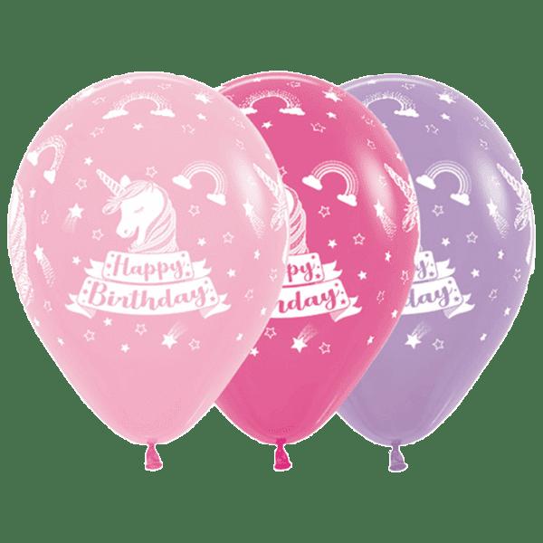 Bio Luftballon Happy Birthday Einhorn