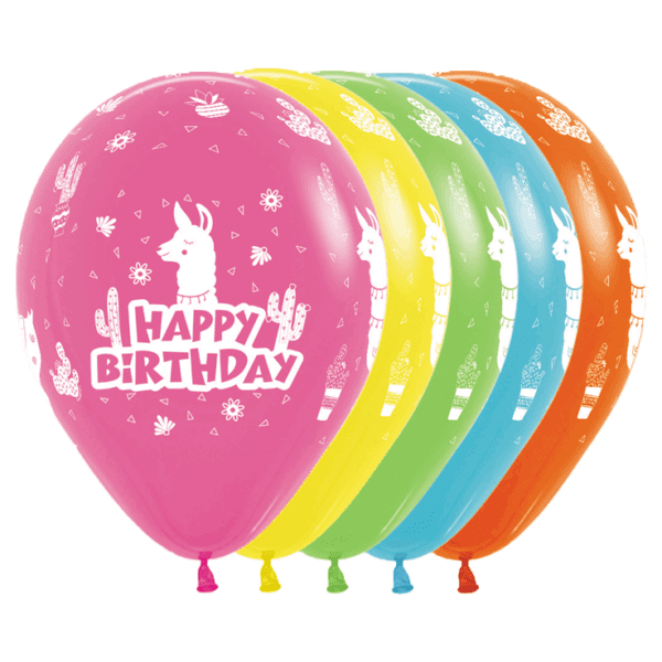 Bio Luftballon Happy Birthday Lama