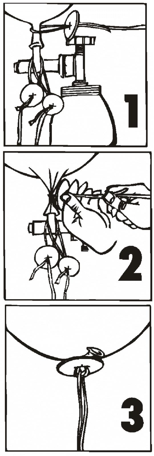 Luftballonverschluss Benutzungshinweis