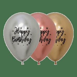 Bio Luftballon Happy Birthday mit Sternen (2-seitig)