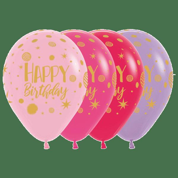 Bio Luftballon Happy Birthday Party Mischung