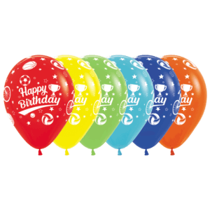 Bio Luftballon Happy Birthday Sport-Motive