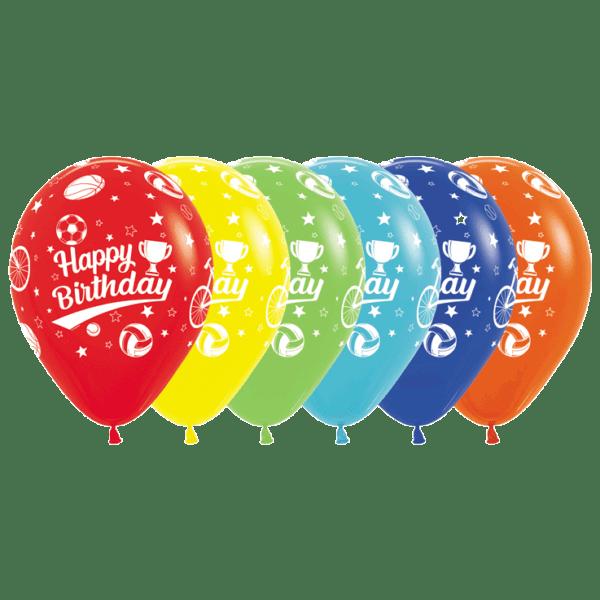 Bio Luftballon Happy Birthday Sport-Motive