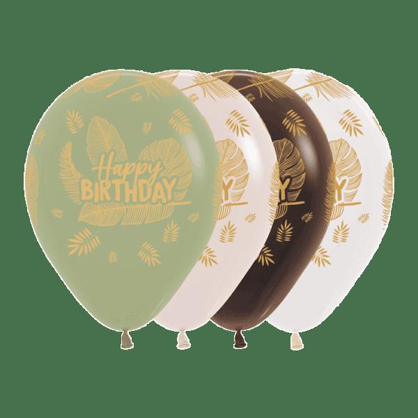 Bio Luftballon Happy Birthday Palmenblätter