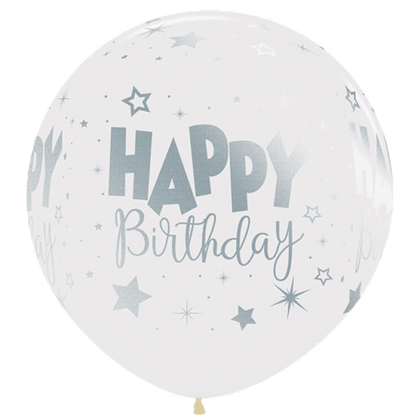 Bio Luftballon 60cm kristallklar, Happy Birthday Metallic-silber