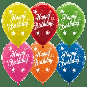 Bio Luftballon Happy Birthday Metallic Sterne