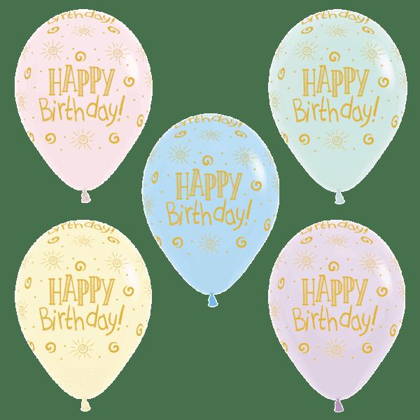 Bio Luftballon Happy Birthday Sonne, Pastell-Matt Mischung