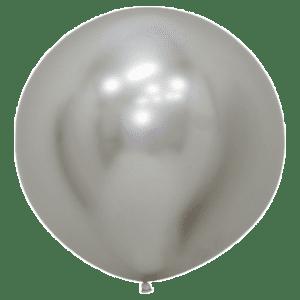 Bio Riesen-Luftballon chromglanz silber 60 cm