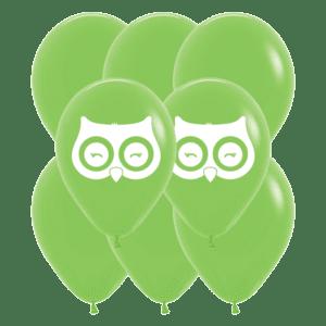 Bio Luftballon Eule und Fuchs, 30cm, 8 Stück Deko-Set Hellgrün 031