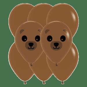 Bio Luftballon Bär und Waschbär, 30cm, 8 Stück Deko-Set Kaffeebraun 074