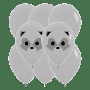 Bio Luftballon Waschbär und Bär, 30cm, 8 Stück Deko-Set Grau 081