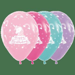 Bio Luftballon 30 cm Happy Birthday Einhorn